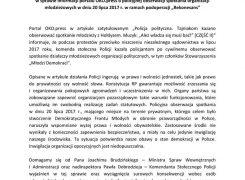 """Stanowisko ws. akcji policyjnej """"Rekonesans"""""""